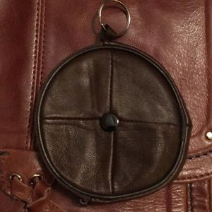 Vintage leather coin purse key chain